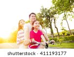 happy asian family having fun... | Shutterstock . vector #411193177