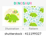 dinosaur vector seamless...   Shutterstock .eps vector #411199327