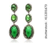close up of diamond earrings