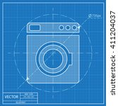 blueprint icon of washing... | Shutterstock .eps vector #411204037