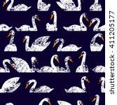 Seamless Pattern Flock Of Swan...