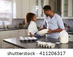 black dad and young daughter... | Shutterstock . vector #411206317