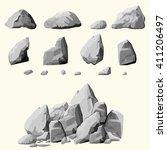 set of stones  rock elements... | Shutterstock .eps vector #411206497