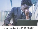 black stressed businessman...   Shutterstock . vector #411208903