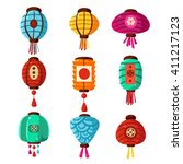 chineese lanters decoration... | Shutterstock .eps vector #411217123