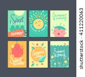 vector set of summer cards ... | Shutterstock .eps vector #411220063