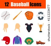 flat design baseball icon set...