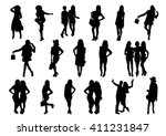 friends woman silhouettes set.... | Shutterstock .eps vector #411231847