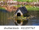 Old Duck House Made Of Wood On...