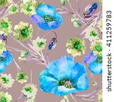 beautiful floral seamless... | Shutterstock . vector #411259783