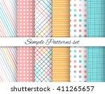 geometric seamless patterns set | Shutterstock .eps vector #411265657