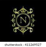vintage monogram frame template ... | Shutterstock .eps vector #411269527