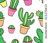 seamless pattern with cactus.... | Shutterstock .eps vector #411270613
