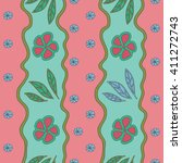 hand drawn vector floral doodle ... | Shutterstock .eps vector #411272743