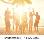 diverse people dancing and... | Shutterstock . vector #411273853