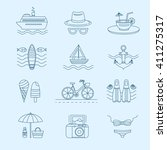 set of vector line icons on the ... | Shutterstock .eps vector #411275317