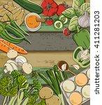 fresh vegetables on wood table | Shutterstock .eps vector #411281203