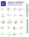 geometric leaf icon set. thin... | Shutterstock .eps vector #411282223