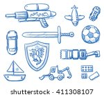 children toys icons flat lay ... | Shutterstock .eps vector #411308107