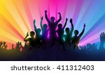 silhouettes of happy people... | Shutterstock .eps vector #411312403