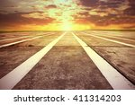 summer sunset time and runway... | Shutterstock . vector #411314203