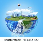 eco concept. city of future.... | Shutterstock . vector #411315727
