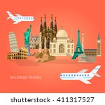 most famous world landmarks... | Shutterstock .eps vector #411317527