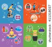 fitness  gym  cardio  yoga ... | Shutterstock .eps vector #411318037