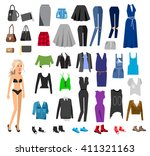 woman clothes. paper doll with... | Shutterstock .eps vector #411321163