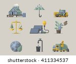 ecology icons  illustrated... | Shutterstock .eps vector #411334537