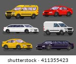 stylish flat car. transport car ... | Shutterstock .eps vector #411355423