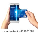 mobile payment concept  hand... | Shutterstock . vector #411361087