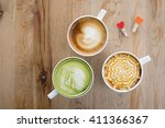 Top View Of Hot Milk Art Coffe...