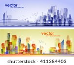 abstract city landscape  | Shutterstock .eps vector #411384403