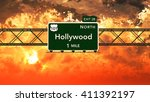 hollywood usa interstate... | Shutterstock . vector #411392197