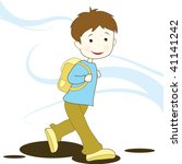 boy going to school | Shutterstock .eps vector #41141242