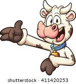 Happy Cartoon Cow. Vector Clip...