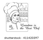 grandmother best cook and chef. ... | Shutterstock .eps vector #411420397