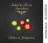 salad and pizza ingredients  ...   Shutterstock .eps vector #411420553