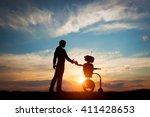 man and robot meet and... | Shutterstock . vector #411428653