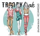 vector set with trendy girls.... | Shutterstock .eps vector #411440263