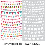 birthday and party bunting... | Shutterstock .eps vector #411442327