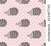 hedgehog seamless pattern on...   Shutterstock .eps vector #411467743