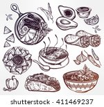 mexican hand drawn food set... | Shutterstock .eps vector #411469237
