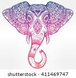 vintage mandala vector elephant ... | Shutterstock .eps vector #411469747