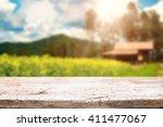 desk space platform and blurred ... | Shutterstock . vector #411477067