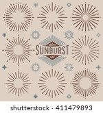 vector retro dark sunburst... | Shutterstock .eps vector #411479893