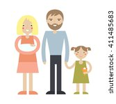 happy family portrait. cartoon... | Shutterstock .eps vector #411485683