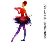 ballerina dancing. watercolor... | Shutterstock .eps vector #411494527