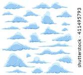cartoon blue clouds on a white... | Shutterstock . vector #411495793
